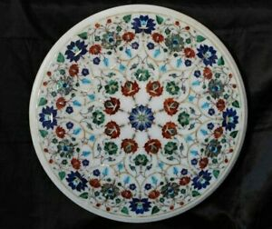 "23"" Marble table top semi precious stones pietra dura handicraft work"