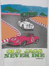 Old Jags Never Die XKE E-Type Jaguar UK Racing Race Cars Men's Large T-Shirt NEW