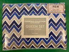 Essentials Collection Blue 4 Piece Queen Sheet Set, Soft Microfiber, NEW