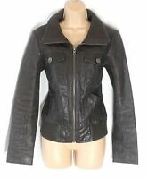 Women's Vintage ONLY Brown 100% Leather Bomber Flying Jacket Coat Size MEDIUM