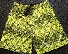 NWT Mens Nike S Neon Yellow/Black Graphic Print Dri-Fit Shorts Small