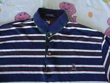 Vintage TOMMY HILFIGER Stripe Navy 90's Rap Hip Hop Long Sleeve Polo Shirt XL