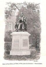 LE MANS STATUE DE PIERRE BELON PAR FILLEUL GRAVURE ENGRAVING 1888