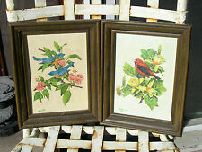 Two small oil paintings of birds