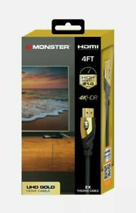 Monster HDMI High Speed 4K HDR Gold 4ft Cable New In Package