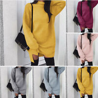 Jumper Autumn Winter Knitwear Turtle Neck Sweater Dress Long Sleeve Womens Loose