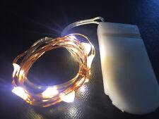 10 LED WARM WHITE CR2032 Battery CW 1m Long String Lights - UK Seller/stock