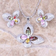 Natural Jewelry set Multicolor CZ 925 Silver Fashion Necklace Pendant+Earring