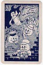 Playing Cards 1 Swap Card - Vintage DISNEY 3 Three Little Pigs + Big Bad Wolf 1
