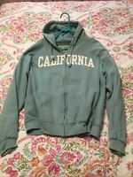 ❤️CALIFORNIA Zip Up Hoodie SWEAT SHIRT Jacket Cotton Blend Aqua Turquoise XL