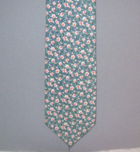 """Tango Max Raab GREEN with PINK CARNATIONS 58"""" Cotton Neck Tie made in USA #264"""