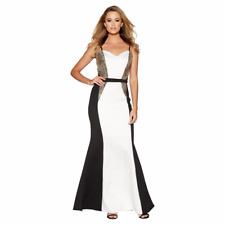 9be597e7d45 Quiz Cream and Black Embellished Fishtail Maxi Dress UK Size 18 Td172 KK 01