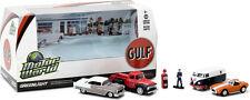 GREENLIGHT Motor World Multi-Car Dioramas Gulf Oil Vintage Gas Station 1/64