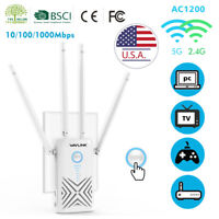 AC1200 Wireless Repeater Dual Band WiFi Gigabit Range Extender AP Router Booster