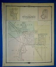 Antique 1878 Atlas Map ~ STEVENS POINT, WISCONSIN ~ Old & Authentic ~ Free S&H