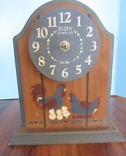 Habersham Country Collection Wood SHELF CHICKEN Clock Farm Elgin Company