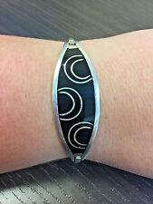 mexico silver plated black onyx inlaid hinged bangle bracelet