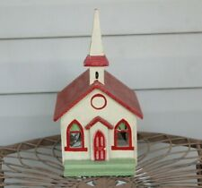 Vintage Mid 20th Century Folk Art  Hand Painted Church w/ Steeple Model Building