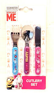 Despicable Me Fluffy 3 Piece Stainless Cutlery Set New