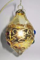 "Tear Drop Gold Glass Jeweled Christmas Ornament, 4"""