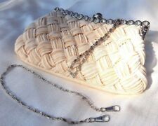Women's Woven Silk Evening Bag Clutch Handbag Shoulder Tote Purse Ivory Prom