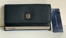 NEW! TOMMY HILFIGER BLACK GRAY CONTINENTAL CHECKBOOK CLUTCH PURSE WALLET SALE