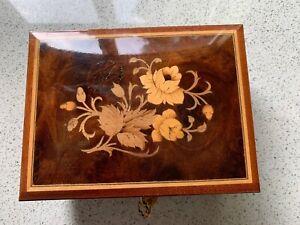 Inlaid Wooden Sorrento Ware Music Jewellery Box. Plays Santa Lucia.