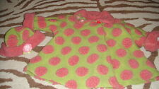 CORKY & COMPANY 4T GREEN PINK POLKA DOT COAT AND HAT