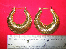 "MADE IN USA - Gold Plated Shrimp ~1-1/4"" Hoop Earrings  (#11017)"