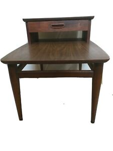 Vintage LANE Mid Century Modern Two Tiered Step End Table Side Walnut w Drawer