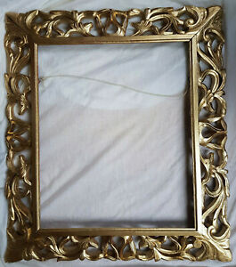 """19th Century Hand Carved Ornate Decorative Oak Frame, fit pic 18"""" x 21 1/2"""""""