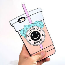 Soft Rubber Luxury Designer Case for iPhone 6+ 6s Plus Drink Cup Girl Cool Funny