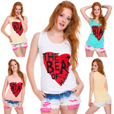 Womens Boat Neck Printed Vest Top New Colours UK Heart Sleeveless Blouse FB315