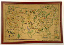 Vintage USA STATE FLOWER MAP Embroidery Needlework Completed Signed 1961Marecek