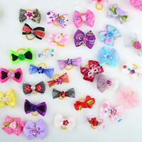 20pcs New Assorted Pet Cat Dog Hair Bows with Rubber Bands Grooming