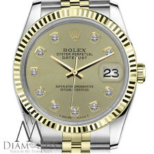 Womens Rolex 26mm Datejust 2 Tone Champagne Color Diamond Accent Dial Watch