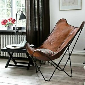 Butterfly Chair Handcrafted Vintage Genuine Buffalo Leather Chair