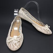 Women's Mudd Ivory Off White Lace Bow Round Toe Ballerina Flats Size 8.5 M