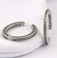 Sterling Silver Earring Women Hoops With Crystal Hearts SILVER Round