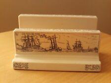 Vintage Ceramic Desk Letter Rack Nautical Tall Ships Design.