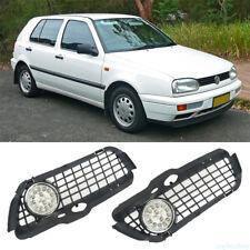 For VW Golf MK3 Jetta 92-98 Front Bumper Grill + LED Fog Light Lamp Bright White