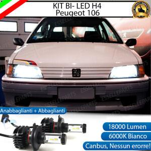 KIT LED H4 PER PEUGEOT 106 6000K BIANCO CANBUS 18000 LUMEN REALI BI-LED