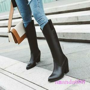 Womens Faux Leather Western Knee High Boots Cowboy Block High Heels Riding Shoes