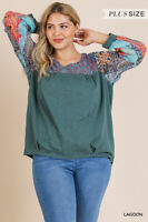 Umgee Bohemian Floral Print Long Sleeve Knit Top Plus Size