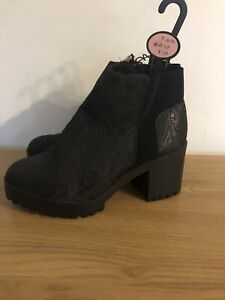 NEW ATMOSPHERE WOMENS BLACK PATTERNED CHUNKY CHELSEA ANKLE BOOTS SIZE 7