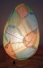 Unusual Hand Made Egg Shape Leaf Lamp - Hand Made Natural Bali Leaf Egg Lamp