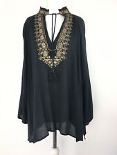 BNWT Ralph Lauren Denim & Supply Small UK 10 Black Cotton Embroidered Tunic Top
