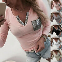 Women V Neck Long Sleeve Sexy Stretch T Shirt Casual Loose Blouse Sequin Tops