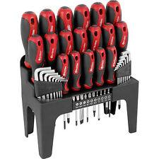 NEW 44 PCS RED SCREWDRIVER ALLEN KEY TORX & BIT TOOL SET WITH STORAGE STAND