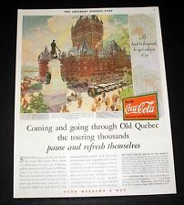 1930 OLD MAGAZINE PRINT AD, COCA-COLA, COMING AND GOING THROUGH OLD QUEBEC, ART!
